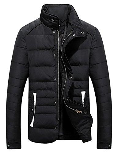 Menschwear Herren Winter Warme Jacke Daunenjacke schlanke Passform(L,Schwarz)