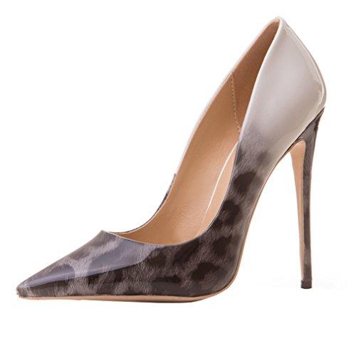 ENMAYER Womens High Heels Spitz Zehe Schuhe Slip-on Court Party Kleid Pumps Grau