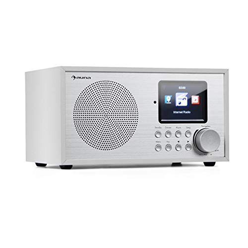 auna Silver Star Mini Internetradio mit Bluetooth - DAB+/UKW Radio, WLAN, USB, AUX-In, Line-Out, 8 W RMS, HCC-Display, inkl. Fernbedienung, weiß