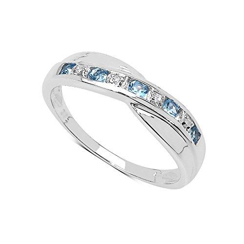 La Colección Anillo Diamante: Anillo de Topacio con set de Diamantes en Plata de ley Perfecto para regalo, Anillo de Eternidad o Aniversario, Talla del anillo 15