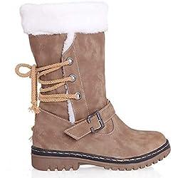 Zapatos Invierno Mujer Botas de Nieve Calzado Caño Calentar Planas Casual Outdoor Aire Libre y Deportes Sneakers Caqui 43