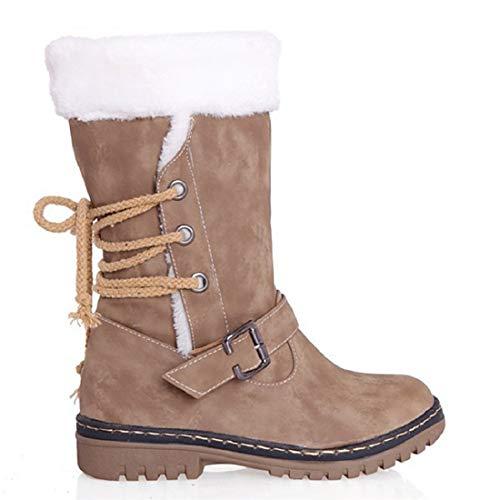 Winterstiefel Damen Gefüttert Schneestiefel Bequeme Schuhe Blockabsatz Outdoor Schwarz Sneaker schnüren Langschaft Stiefel Braun Beige 34-43