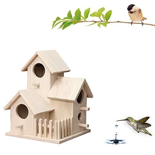 7Lucky Maison d'oiseaux, Nichoir extérieur créatif Mural en Bois pour extérieur Maison en Plein air en Forme de boîte pour Les Oiseaux (L)
