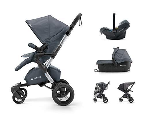 Concord Neo Travel Set - Silla de paseo con capazo grupo 0+, unisex, color steel grey