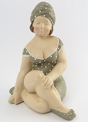 Dekofigur Mollige Frau Badeanzug Retro Art Frauenfigur Dicke Badepuppe Figur Akt Baddeko Badezimmer Deko