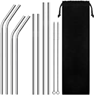 Set of 8 Reusable Portable Drinking Stainless Steel Straws for 30oz / 20oz Tumblers with 2 Cleaning Brushes an