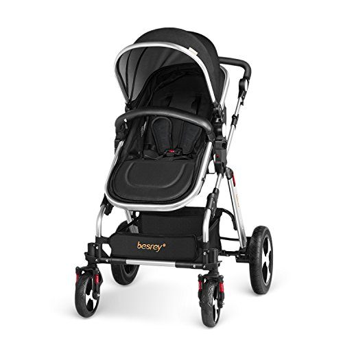 Besrey 2 in 1 Pushchair Baby Reclining Stroller Newborn Travel System Buggy with Shock Absorbers - Black