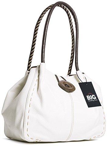 Grande borsa alla moda con tracolla e dettaglio bottone, in pelle sintetica, con sacchetto antipolvere e confezione regalo (White (SD100))