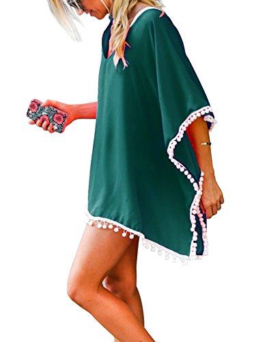 Damen Strandponcho Sommer Kaftan Strandkleid Bikini Cover Up Schwärzgrün