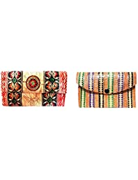 Sikha Handicrafts Women's Goat Leather Wallet Small Multi-Coloured Pack Of 2
