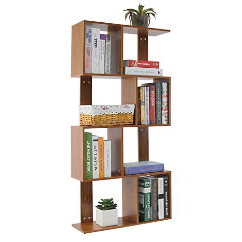 Jerry & Maggie Regal mit 5 Etagen für Bücherregal, Schreibtisch, abgeschrägter Stauraum, Holzschrank mit Mehreren Einheiten, Deluxe freistehende Regale - Pfeilförmig, dunkler Naturholzton -