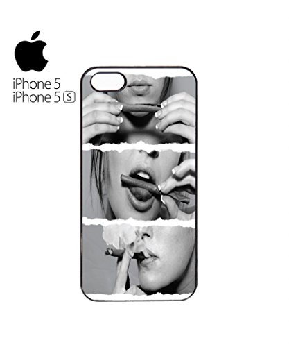 Sexy Girl Lips Smoking Rolling Cigar Funny Hipster Swag Mobile Phone Case Back Cover Coque Housse Etui Noir Blanc pour for iPhone 5&5s White