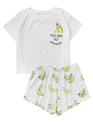 DIDK Damen Übergroß Pyjama Set mit Avocadomuster und Kordelzug ,Muster 4 - L (Banane T-shirt Weiß)