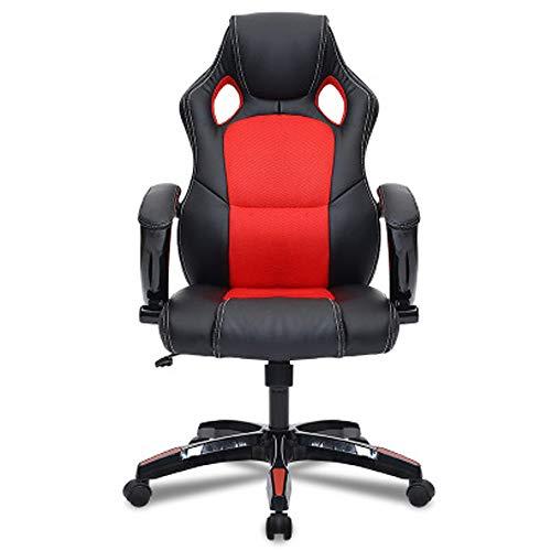 Hoch High Back Leder (Gaming-Stühle, Hoch Rücken Ergonomischer PU Leder Bürostuhle, Computer Schreibtisch Gaming Schreibtischstuhl High Back Büro Chefsessel (ROT & Schwarz))