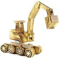 @LIU-IT-Giocattolo di legno Backhoe escavatore modello-vista 3
