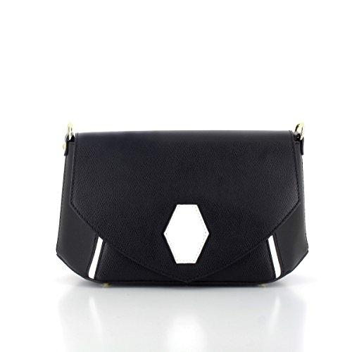 Laura Moretti - Leder zweifarbiger Crossbody / Clutch mit zentralem Sechskant (Handtasche Zweifarbige Satchel)