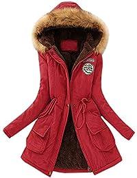Abrigos Mujer Invierno Largos Elegantes POLP Delgado sólido Grueso Abrigo de Cuello Alto Abrigo con Cremallera