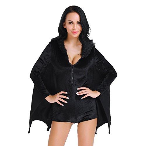 dPois Damen Fledermaus Pulli Tops Vampir Kostüm Hexe -