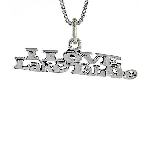 Revoni I LOVE LAKE TAHOE Wort Unisex Halskette 925 Sterlingsilber mit 46 cm Box Kette