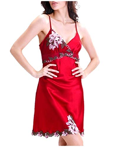 CuteRose Women's Charmeuse Plus Size Nightgown Embroidered Sleep Dress Red XL -