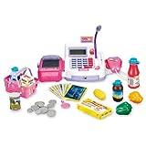 Kasse mit Geräuschen + 29tlg. Zubehör für den Kaufladen Batteriebetrieben Spielgeld Korb Registerkasse Registrierkasse Scanner