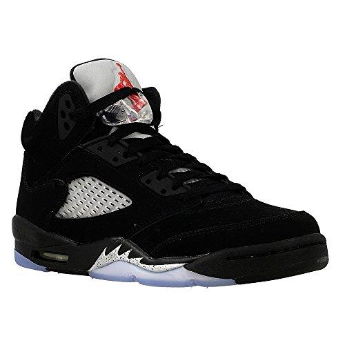 Nike Herren Air Jordan 5 Retro OG BG Basketballschuhe, Black (Schwarz/Feuer-Rot-Metallic-Silber-Weiß), 38 EU -