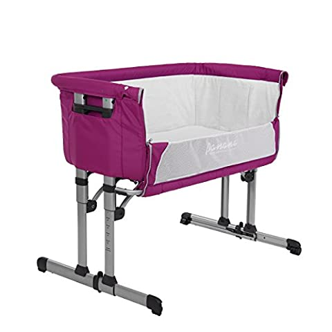 Panana New Design Bedside Crib Cot Next to Me Baby Bed Height Adjustable With Mosquito Net and Carry Bag (Pink)