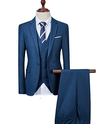 Costume Homme Trois-Pièces Veste Gilet et Patalon Slim Fit Formel Classique Bussiness Mariage Bleu Foncé