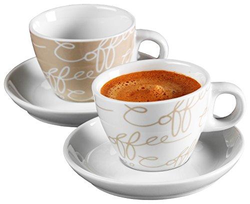 Ritzenhoff & Breker Cornello Espresso Set, 2 Tassen & Untertassen, Creme, 80ml thumbnail
