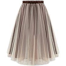 10c0c5b3f4 Deawecall Falda de Tul de Mujer Falda de Cintura Alta Plisada de Cintura  Alta Falda de