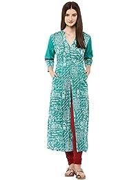 Jaipur Kurti Cotton Turquoise Green Geometric Print Kurta