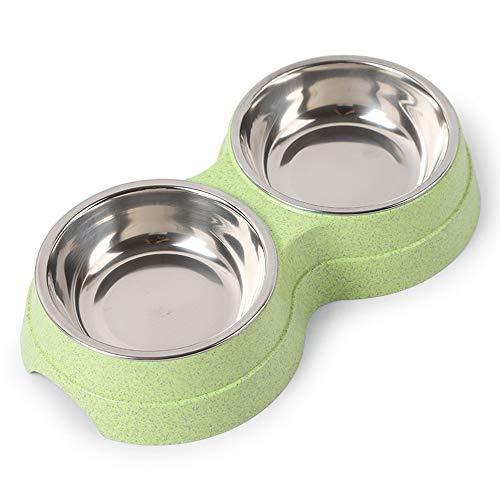 Cacalee Futternapf für Katzen, Doppelnapf, rutschfest, Kunststoff, Edelstahl, langlebig, umweltfreundlich