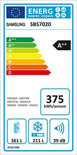 Samsung SBS7020 Side-by-Side Kühlschrank / A++ / Premium Edelstahl Look / 361 L Kühlteil / 209 L Gefrierteil