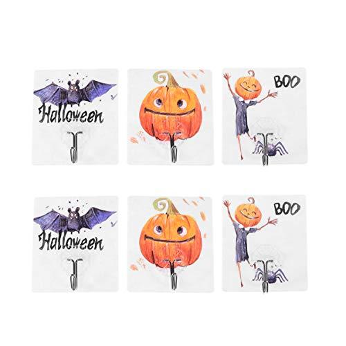 TOPBATHY 6 stücke Halloween Thema klebehaken, wandhaken, wasserdicht und ölbeständig, dekor für Halloween Badezimmer (zufälliges Muster)