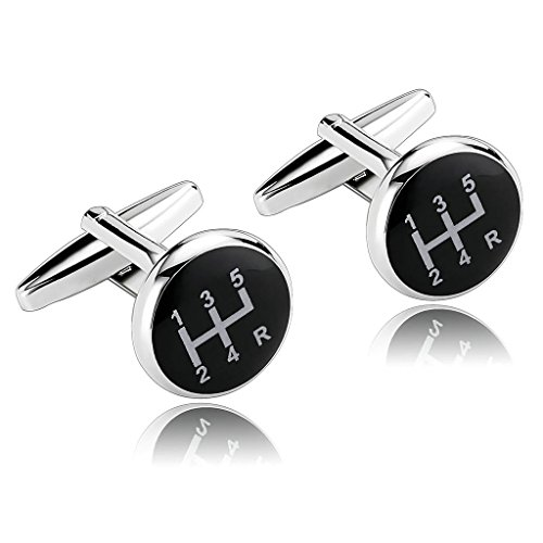 epinki-stainless-steel-car-shift-gear-black-mens-cufflinks-and-studs-set