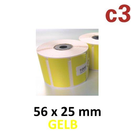 56x25 mm ThermoEtiketten GELB Rolle mit 1.000 Etiketten für Epson TM-L60 TM-L60II TM-L90 Zebra Easycoder Citizen