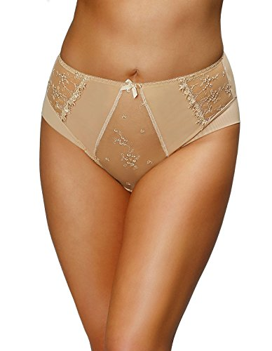 367c35ed1d Nessa P2 Women s Alisa Golden Beige Solid Colour Embroidered Knickers Panty  Brief XXLarge
