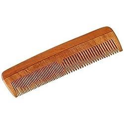 """HealthAndYoga(TM) Hechos a mano Neem Madera Peine - Anticaspa, no estático y Eco-amigable - Ideal para Cuero cabelludo y pelo salud -7"""" grueso-fino Paquete dentado"""