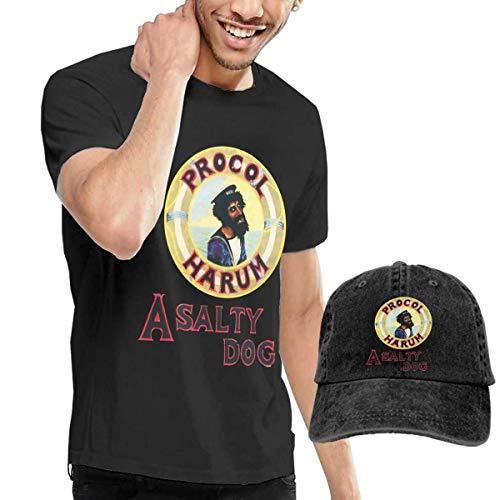 Baostic Herren Kurzarmshirt Men's Procol Harum A Salty Dog T-Shirts and Washed Denim Baseball Dad Cap Black
