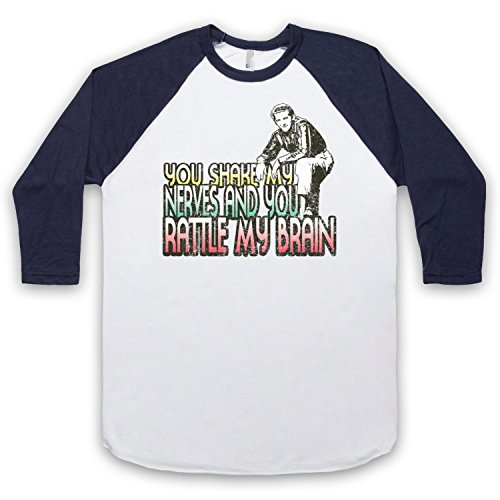 Inspiriert durch Jerry Lee Lewis Great Balls Of Fire Unofficial 3/4 Hulse Retro Baseball T-Shirt Weis & Ultramarinblau