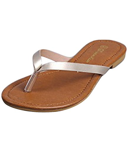 LvRao Damen Zehentrenner Sommer Sandalen Flache Peep-Toe Flip Flop Strand Schuhe Silber 37 (Elegante Flip-flops)