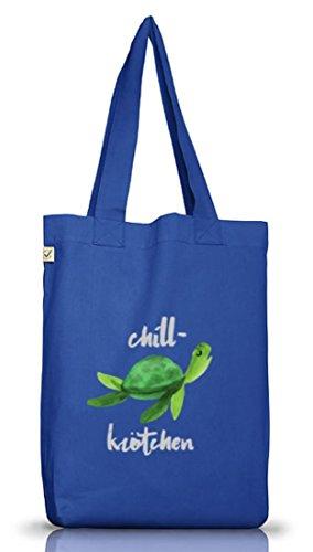 Turtle Schildkröte Jutebeutel Stoffbeutel Earth Positive mit Chillkrötchen 2 Motiv Bright Blue