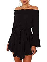 Ninimour Womens Off Shoulder Flared Drop Hem Tied Casual Dress