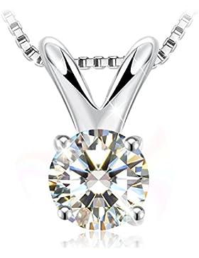 J.Rosée Kette Damen 925 Silber Platinum 1.25 carat 5A Zirkonia Halskette Classic Einzel-Stein Anhänger