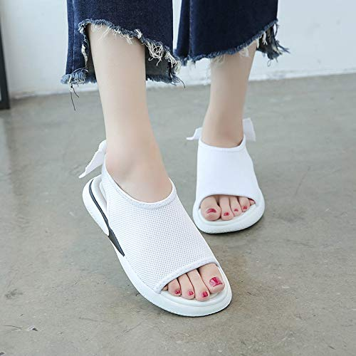 Uhrtimee Sandals Female 2019 Summer New Wild Thick Bottom Fish Mouth Shoes Korean Students Ins Beach Shoes, 35, White - Bow Back Thong