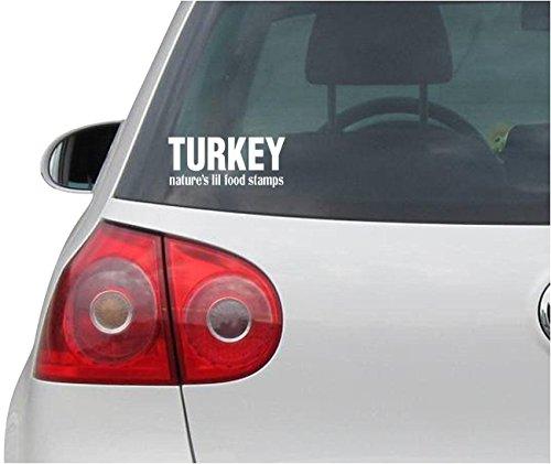 Aufkleber / Autoaufkleber - JDM - Die cut - Turkey Nature\'s Lil Food Stamps Hunting Gun Truck Hunting Bumper Sticker Auto Truck Window Wall Tool Box Vinyl Decal - weiß - 152mmx76mm