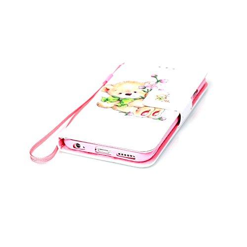 """MOONCASE iPhone 6S Coque, [Fleur Bear] Modèle Case Portefeuille [Porte-cartes] Housse en Cuir Etui à rabat avec Béquille pour iPhone 6 / 6S 4.7"""" Fleur Bear"""