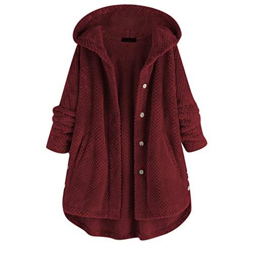 ESAILQ Kleider ÜbergrößeFrauen Fleece Mantel mit Kapuze und Langen Ärmeln
