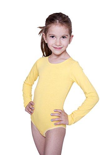 Evoni Kinder Langarm-Body mit Rundhals-Ausschnitt in Gelb mit Druckknöpfen im Schritt | Gr. 104 | angenehme Kinderwäsche aus Baumwolle | Pflegeleicht & komfortabel | Turnbody Gymnastikanzug