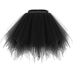 Bridesmay Mujeres Faldas Enaguas Cortas Tul Plisada Fiesta Tutu Ballet Black
